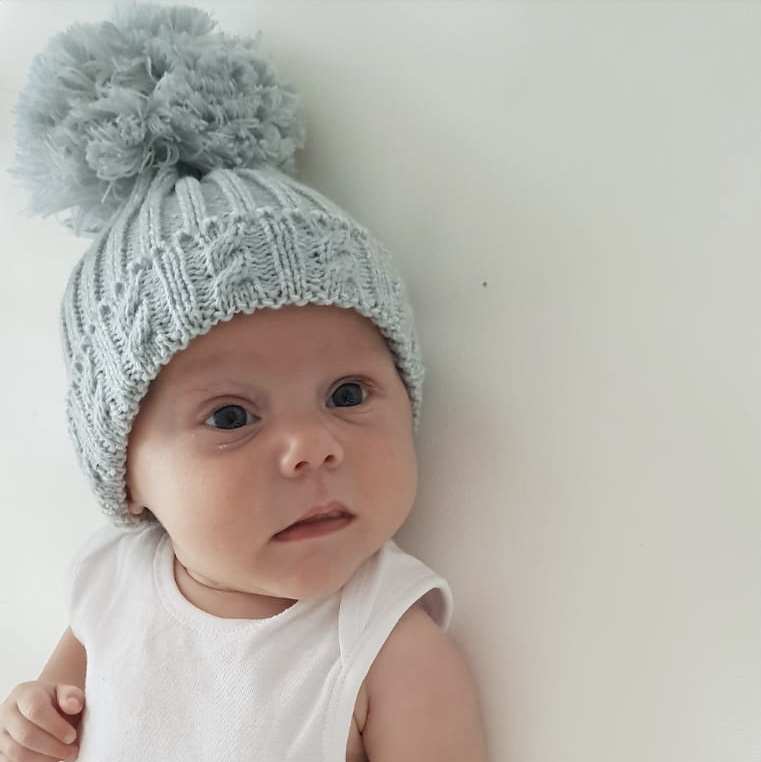 Grey Knitted Pom Pom Hat  3261f2e50b7
