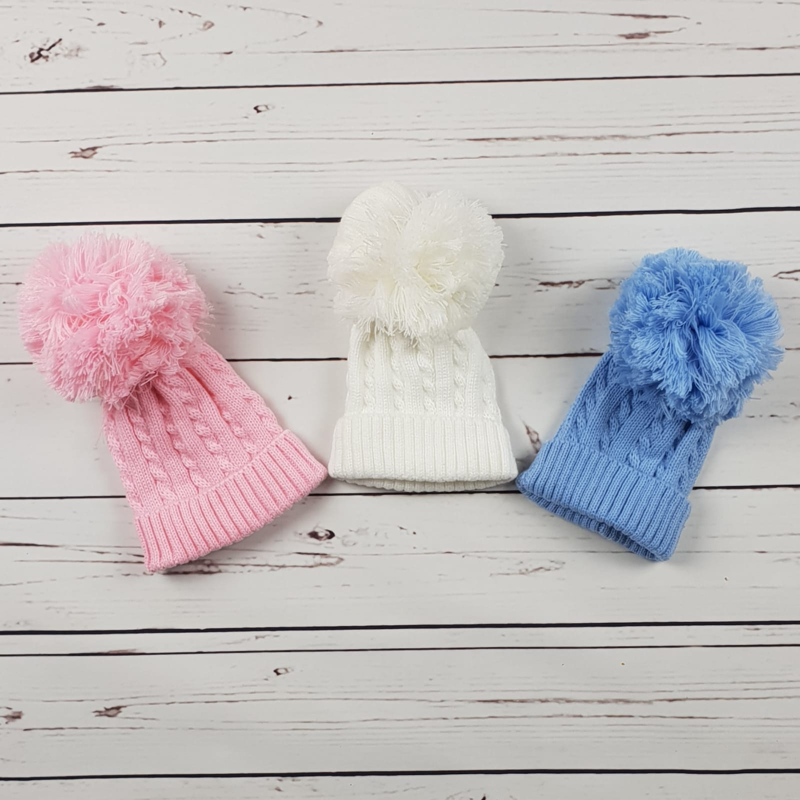 fc4ee28d0ab Pink Cable Knit Pom Pom Hat