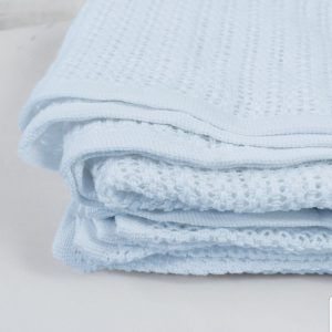 Blue Cellular Pram Blanket