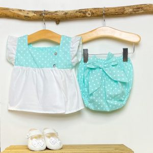 Blouse & Mint Polka Dot Bloomers
