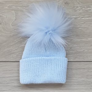 Blue First Size Pom Pom Hat