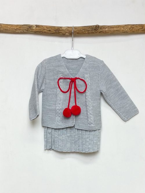 Grey & Red Knitted Dungaree Skirt Set