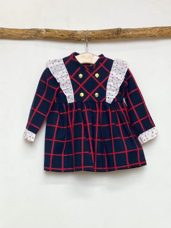 Navy & Red Checked A-Line Dress