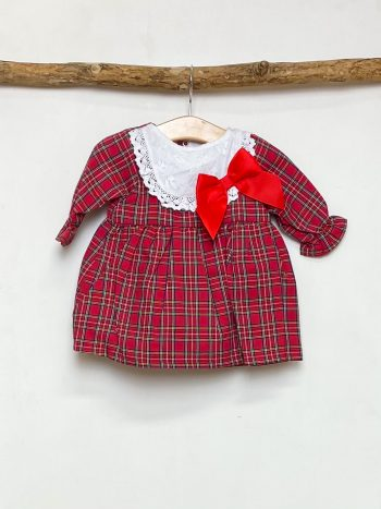 Red Tartan Lace Bib Dress