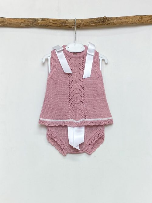 Chevron Blush Ribbon Top & Knickers