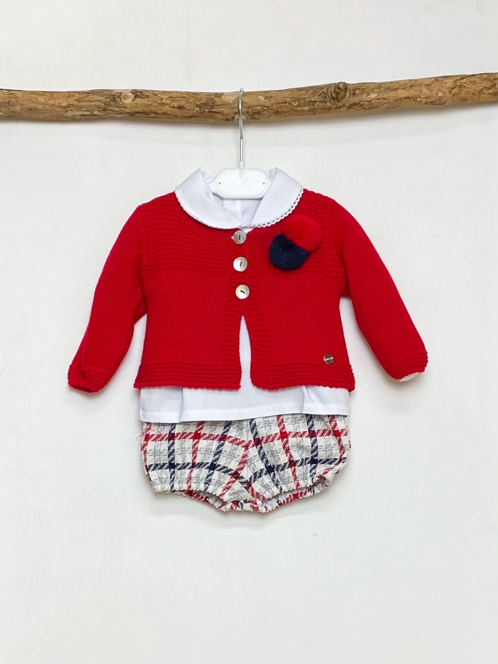 Red Cardigan, Shirt & Checked Bloomers