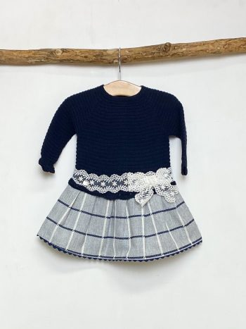 Navy Half Knit Drop Waist Dress