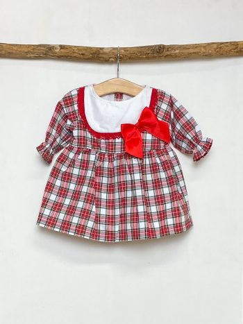 Red & White Tartan Bow Dress