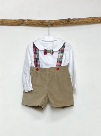 Shirt & Taupe Shorts With Braces