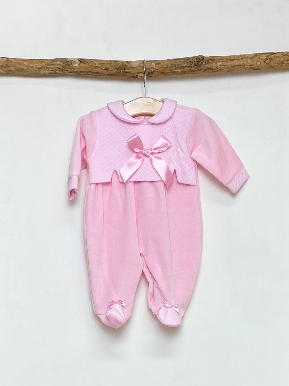Pink Overall Bow Sleepsuit
