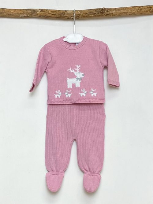 Blush Reindeer Knitted Two Piece