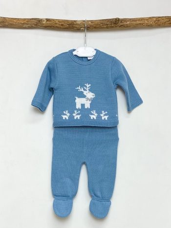 Petrol Blue Reindeer Knitted Two Piece