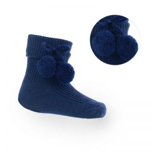 navy pom pom ankle socks