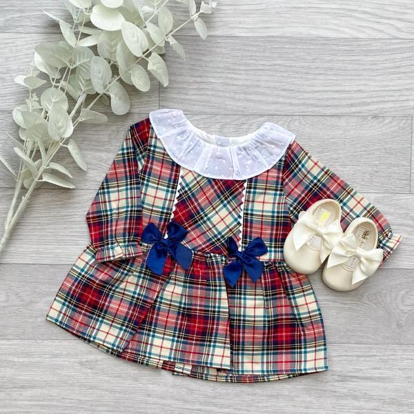 Ivory & Red Plaid Bow Dress