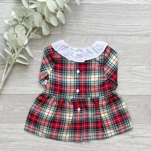 Ivory & Red Plaid Bow Dress 2