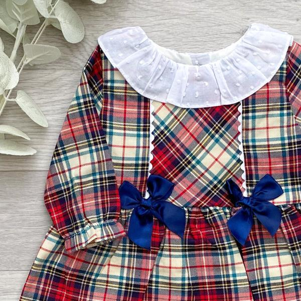 Ivory & Red Plaid Bow Dress 3