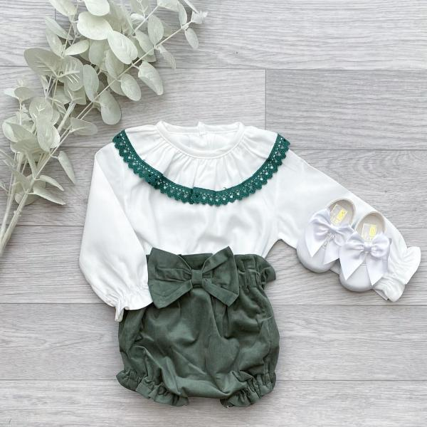 Blouse & Forest Green Bloomers