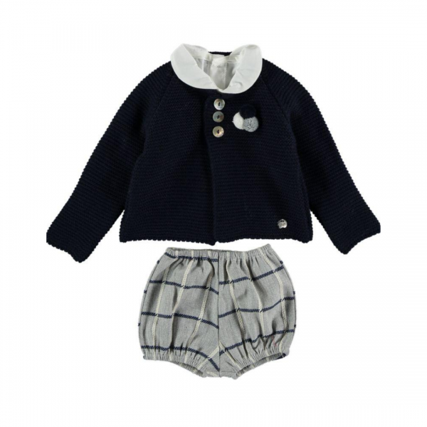 Cardigan, Shirt & Grey Tartan Bloomers