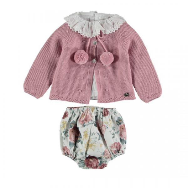 blush floral knitted 3 piece set