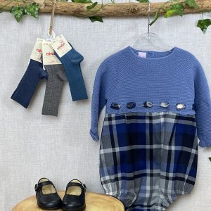 French Blue Half Knit Tartan Shortie