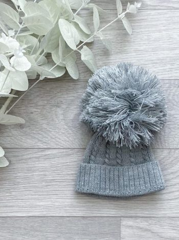 grey 1st size cable pom hat