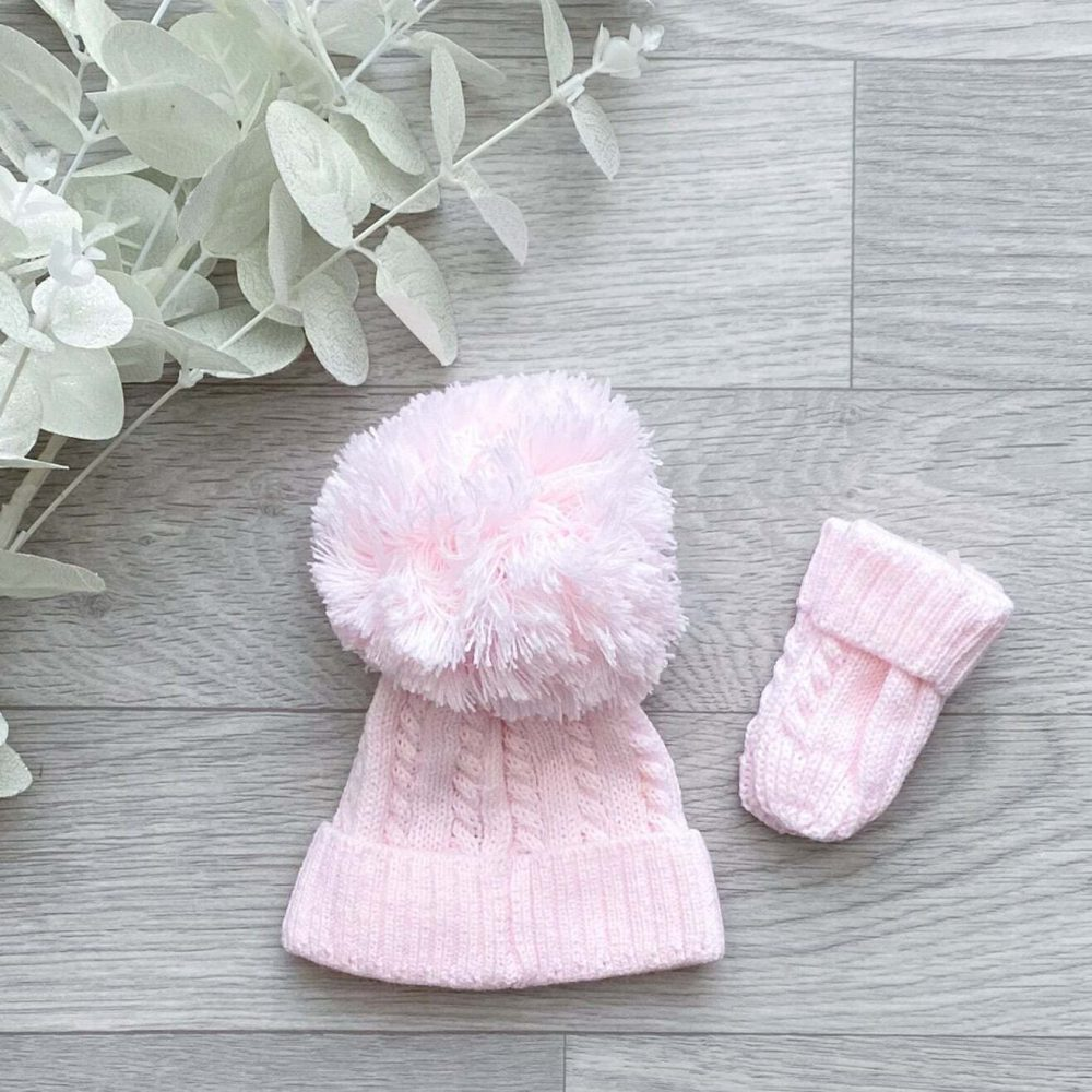 pink cable 1st size pom hat