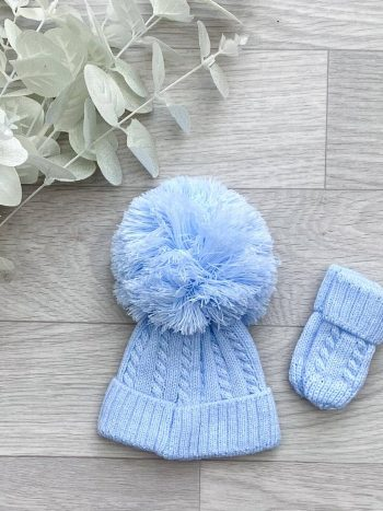 blue cable 1st size pom hat
