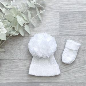 white cable 1st size pom hat
