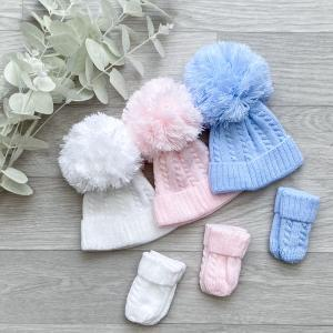 1st size cable pom pom hat & mittens