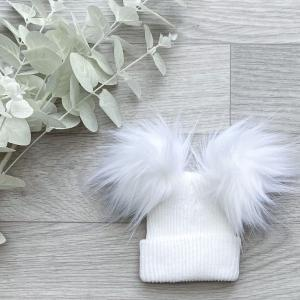 white 1st size double pom hat
