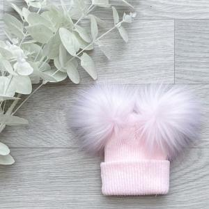 pink 1st size double pom hat