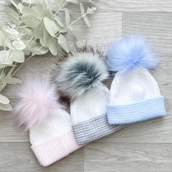 white & colour 1st size pom hat