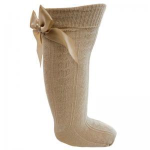 beige knee high heart bow socks
