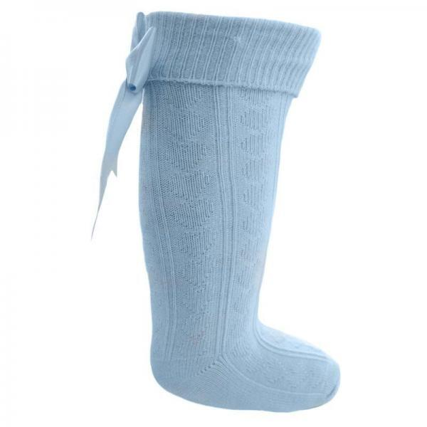 blue knee high heart bow socks
