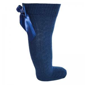 navy knee high heart bow socks