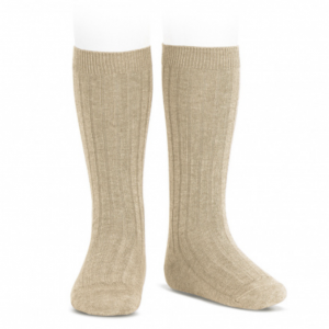 Nougat Wide Ribbed Knee High Socks