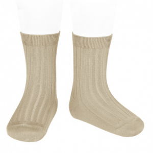 Nougat Wide Ribbed Short Socks