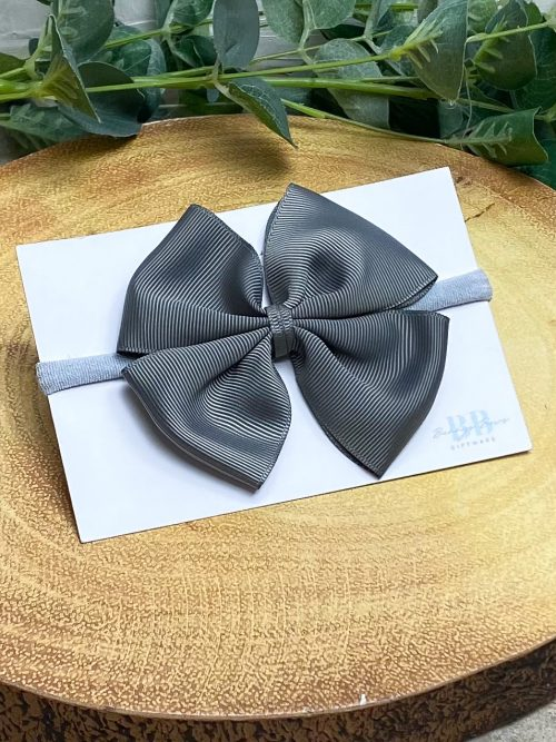 Charcoal Large Grosgrain Hair Bow