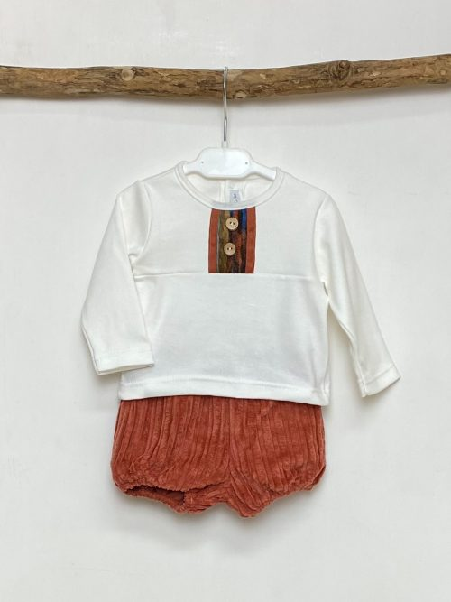 White Native Button Top & Shorts