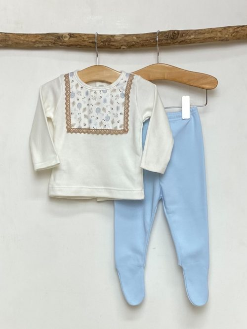 White & Blue Leaf Print Top & Legging Set