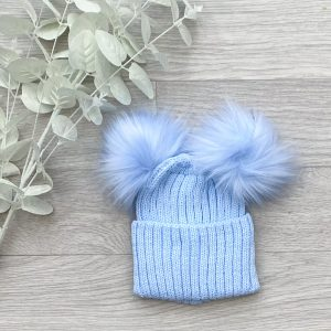 Blue Ribbed Double Pom Pom Hat
