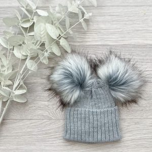 Grey Ribbed Double Pom Pom Hat
