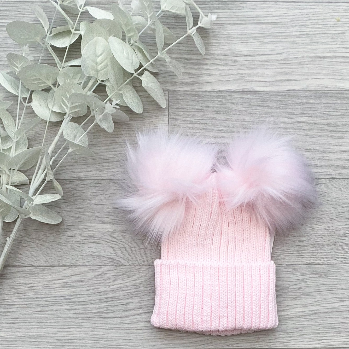 Pink Ribbed Double Pom Pom Hat