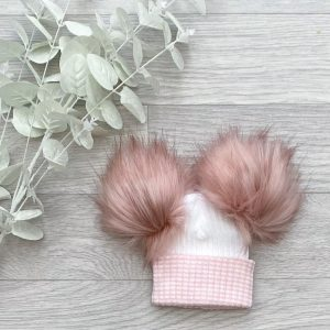 White & Rose Large Double Pom Hat