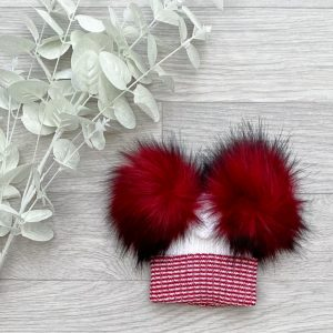 White & Ruby Large Double Pom Hat