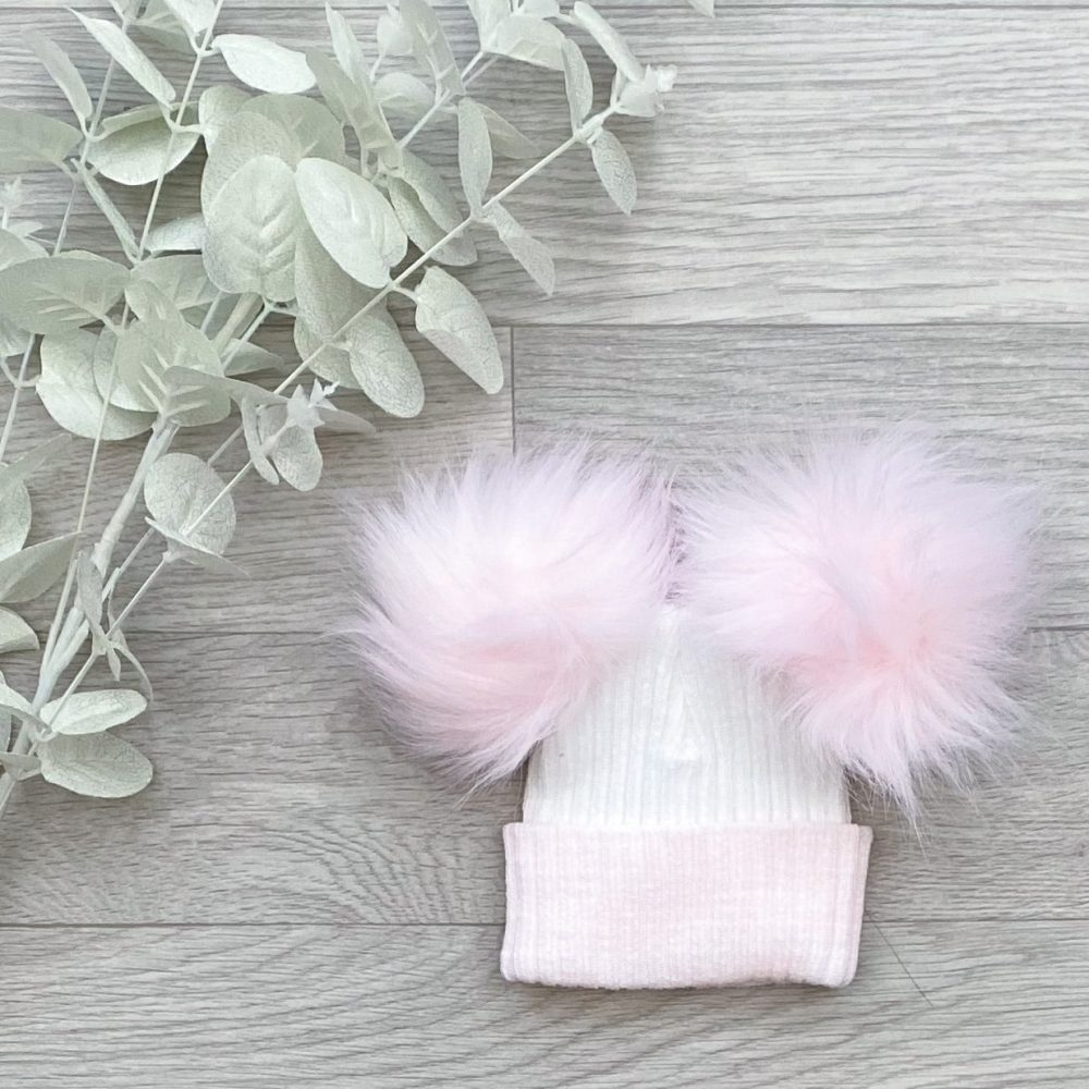 White & Pink Large Double Pom Hat