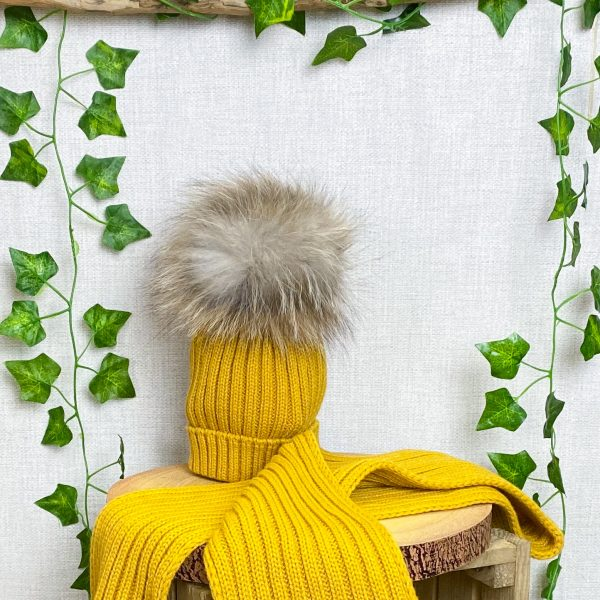 mustard fur hat & scarf set