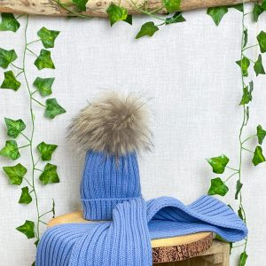 French Blue Fur Hat & Scarf Set