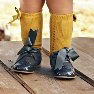 Mustard Bow Knee High Socks