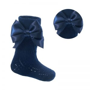 Navy Knee High Pelerine Bow Socks